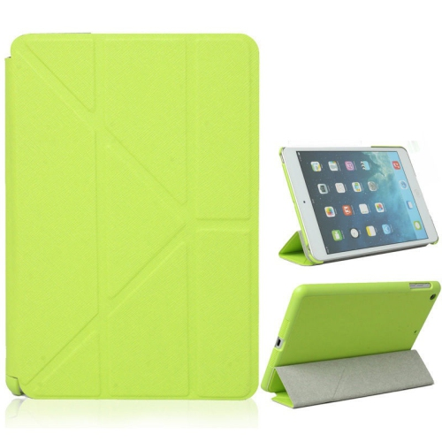 Origami Style Cross Texture Premium Leather Case Smart Cover for iPad Air - Green