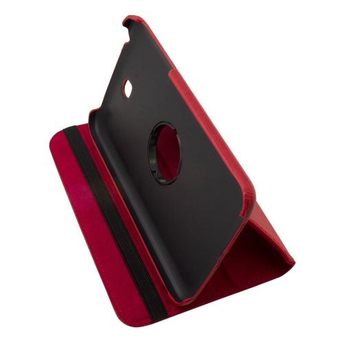 "360 Rotating Leather Hard Case Cover For Samsung Galaxy Tab 3 7.0"" T210 Tablet - Red"