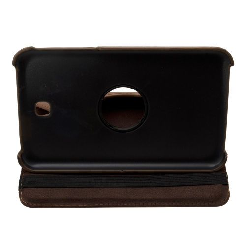 """360 Rotating Leather Hard Case Cover For Samsung Galaxy Tab 3 7.0"""" T210 Tablet - Brown"""