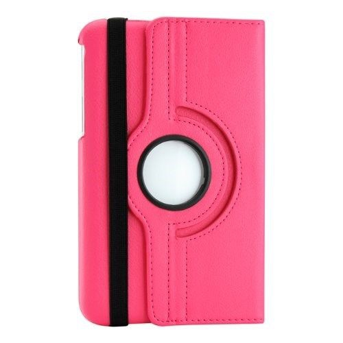 "360 Rotating Leather Hard Case Cover For Samsung Galaxy Tab 3 7.0"" T210 Tablet - Hot Pink"
