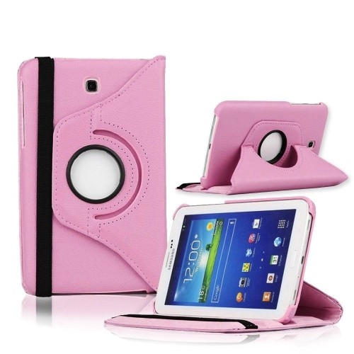 "360 Rotating PU Leather Hard Case Cover For Samsung Galaxy Tab 3 7.0"" T210 Tablet - Baby Pink"