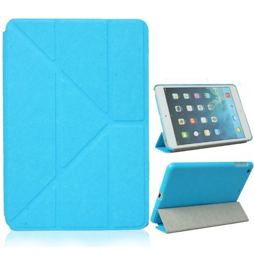 Origami Style Cross Texture Premium Leather Case Smart Cover for iPad Air - Teal
