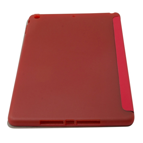 Origami Style Cross Texture Premium PU Leather Case Smart Cover for iPad Air - Red
