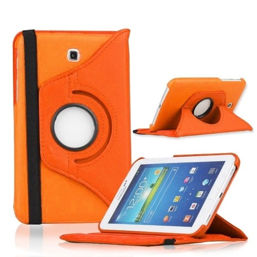 "360 Rotating Leather Hard Case Cover For Samsung Galaxy Tab 3 7.0"" T210 Tablet - Orange"