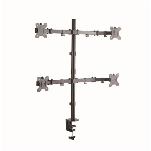 "GlobalTone Full Motion Flat Panel Computer Monitor Desk Mount For 4 Screens 13"" To 27"" With Clamp"