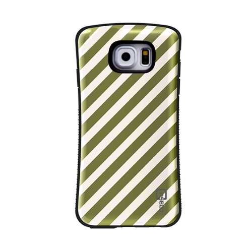 Galaxy S6 Shock Express Design Case - Cream & Gold Striped