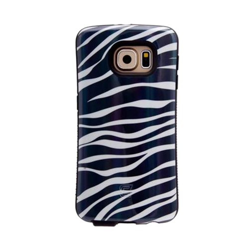 Dual Layer Hybrid Military Graded Shock Express Case with Raised Lip - Samsung Galaxy S6 - Metallic Black Zebra