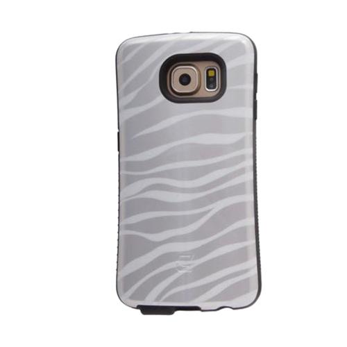 Dual Layer Hybrid Military Graded Shock Express Case with Raised Lip - Samsung Galaxy S6 - Metallic Silver Zebra