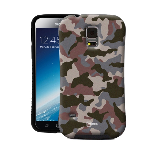 Dual Layer Hybrid Military Graded Shock Express Camo Case with Raised Lip - Samsung Galaxy S5 - Delta