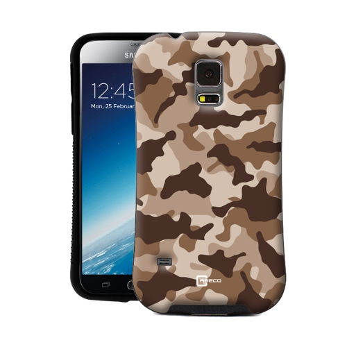 Dual Layer Hybrid Military Graded Shock Express Camo Case with Raised Lip - Samsung Galaxy S5 - Desert