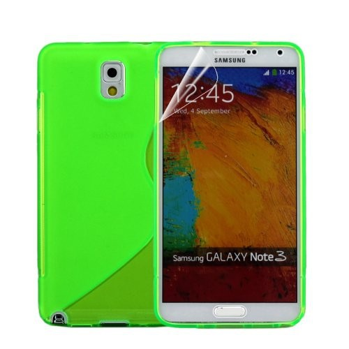 S Shape Gel TPU Rubber Case Cover for Samsung Galaxy Note 3 III - Light Green