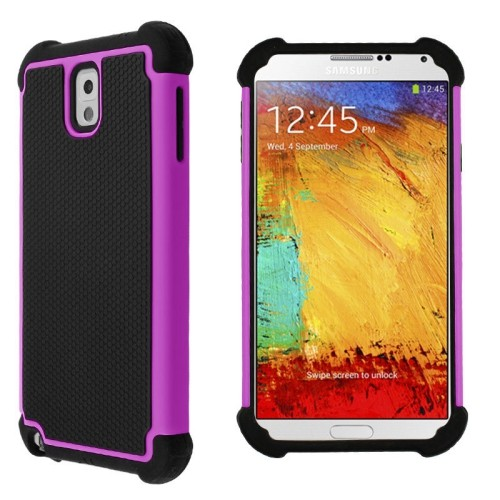 Heavy Duty Rugged Hybrid Hard Case Cover For Samsung Galaxy Note 3 III - Hot Pink / Black