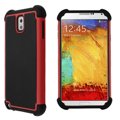 Heavy Duty Rugged Hybrid Hard Case Cover For Samsung Galaxy Note 3 III - Red / Black