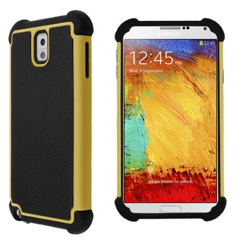 Heavy Duty Rugged Hybrid Hard Case Cover For Samsung Galaxy Note 3 III - Yellow / Black