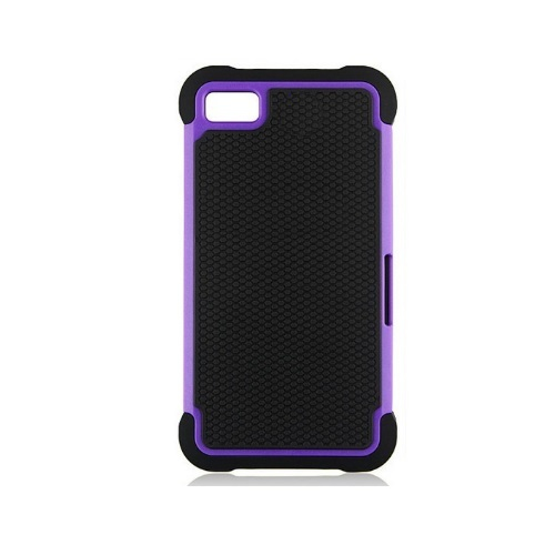 Hybrid Hard Shell TPU PC Cover Case for Blackberry Z10 - Purple / Black