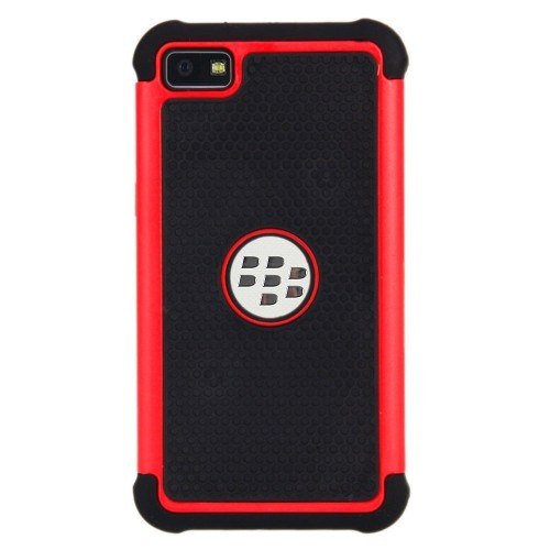 Esource Parts Fitted Hard Shell Case for Blackberry Z10 - Black;Red
