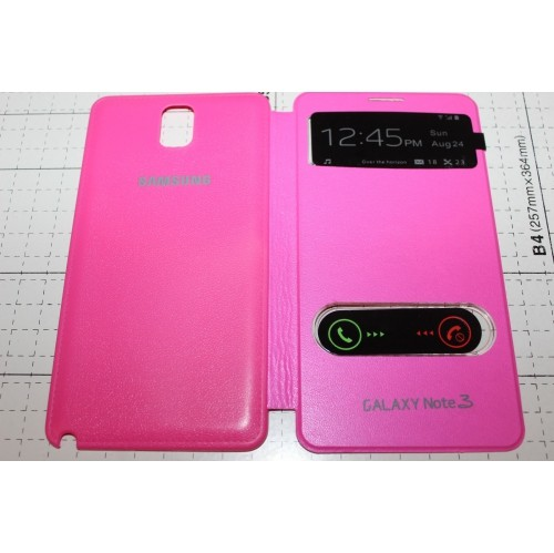 Double S View Window Flip Cover Case For Samsung Galaxy Note 3 - Hot Pink