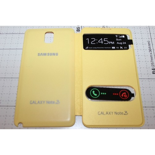 Double Window Flip Cover Case For Samsung Galaxy Note 3 - Yellow