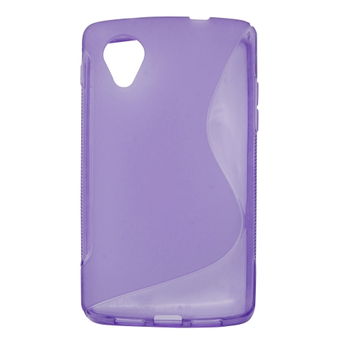 Soft S-line TPU Gel Back Case Phone Cover Protective Skin for LG Google Nexus 5 - Purple