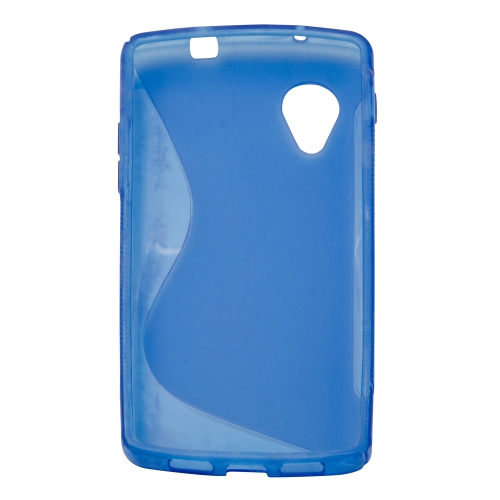 Soft S-line TPU Gel Back Case Phone Cover Protective Skin for LG Google Nexus 5 - Blue