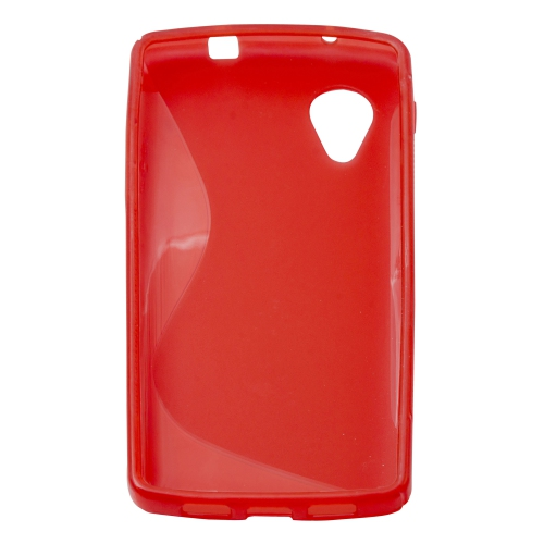 Soft S-line TPU Gel Back Case Phone Cover Protective Skin for LG Google Nexus 5 - Red