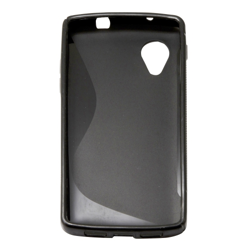 Soft S-line TPU Gel Back Case Phone Cover Protective Skin for LG Google Nexus 5 - Black