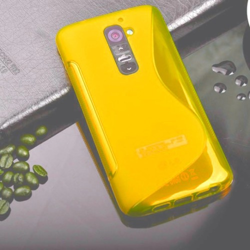 TPU S-line Silicone Rubber Gel Case Cover Skin Accessory for LG Optimus G2 - Yellow