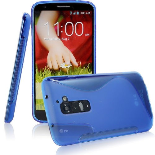TPU S-line Silicone Rubber Gel Case Cover Skin Accessory for LG Optimus G2 - Blue