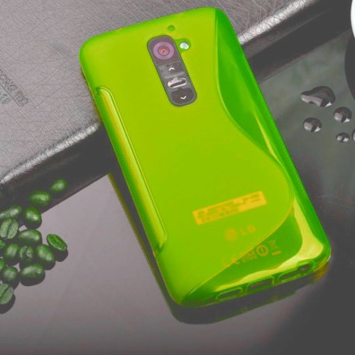 TPU S-line Silicone Rubber Gel Case Cover Skin Accessory for LG Optimus G2 - Light Green