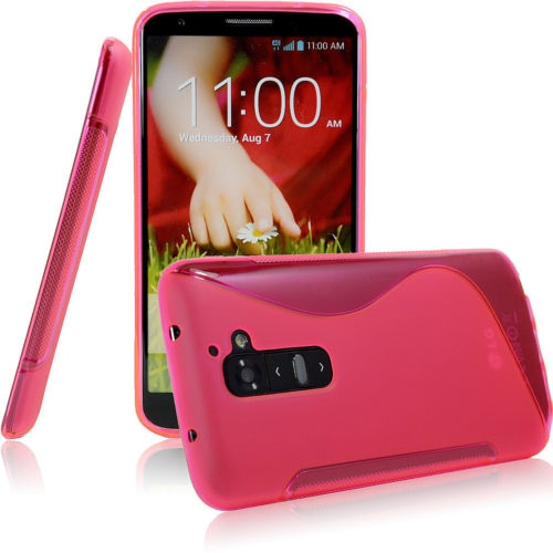TPU S-line Silicone Rubber Gel Case Cover Skin Accessory for LG Optimus G2 - Hot Pink