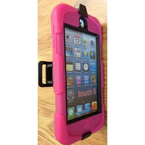 Heavy Duty Tough Armor Case Cover for iPod Touch 5th Gen with Protective Screen and Clip - Hot Pink