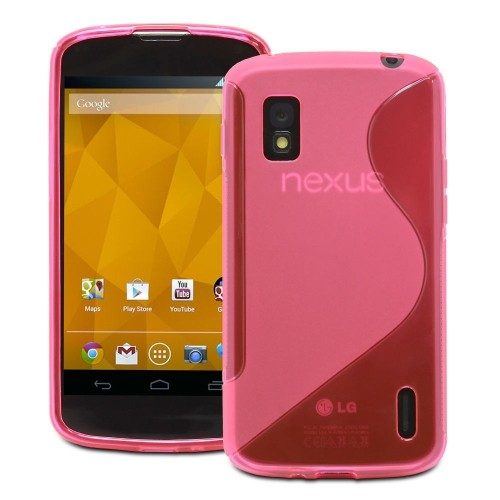 S Line Wave Curve Soft TPU Gel Skin Back Cover Case for LG Nexus 4 - Red