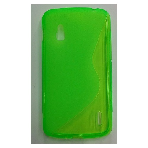 S Line Wave Curve Soft TPU Gel Skin Back Cover Case for LG Nexus 4 - Green