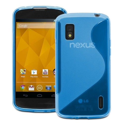 S Line Wave Curve Soft TPU Gel Skin Back Cover Case for LG Nexus 4 - Navy Blue