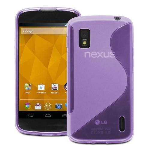 S Line Wave Curve Soft TPU Gel Skin Back Cover Case for LG Nexus 4 - Purple