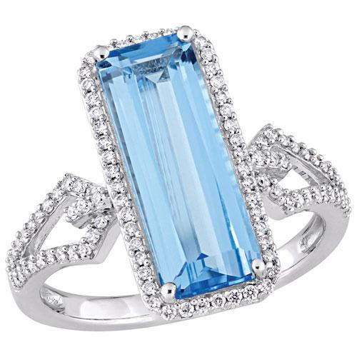 Baguette Halo Ring in 14k White Gold w/ Swiss Blue Topaz Gemstone & 0.29ctw White Diamonds - Size 6