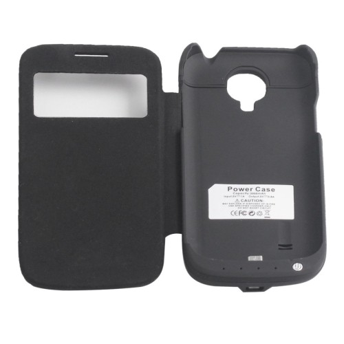 3000mAh Leather Flip Power Bank For Samsung Galaxy S4 Mini i9190 - Black