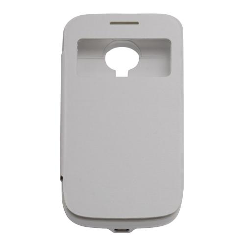 Étui à rabat en cuir avec batterie de secours de 3000mAh pour Samsung Galaxy S4 mini i9190 - Blanc
