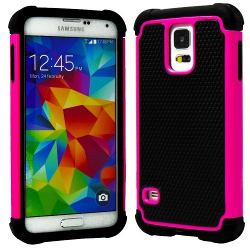 Rugged Impact Hybrid Hard Back Case Cover For Samsung Galaxy S5 - Hot Pink