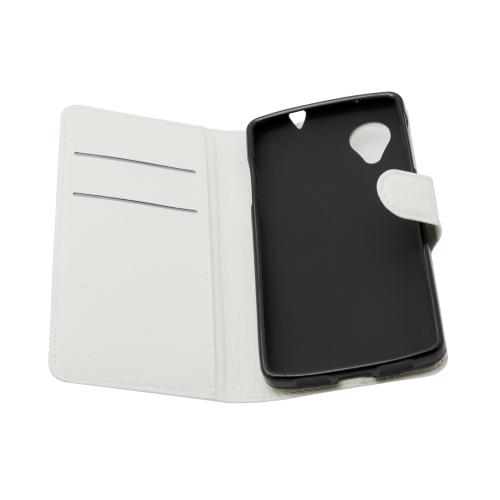 Flip Leather Cover Case Skin For LG Google Nexus 5 - White