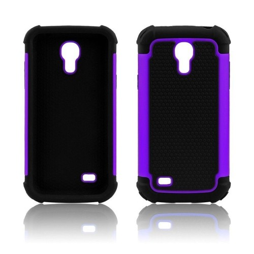 Heavy Duty Impact Rugged Hard Hybrid Case Cover for Samsung Galaxy S4 Mini - Purple