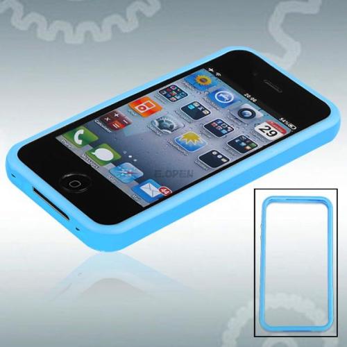 Coque antichoc en gel caoutchouté en forme de S pour iPhone 4 / 4S - Bleu clair