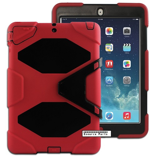 Heavy Duty Protective Case Cover for Apple iPad Air - Red