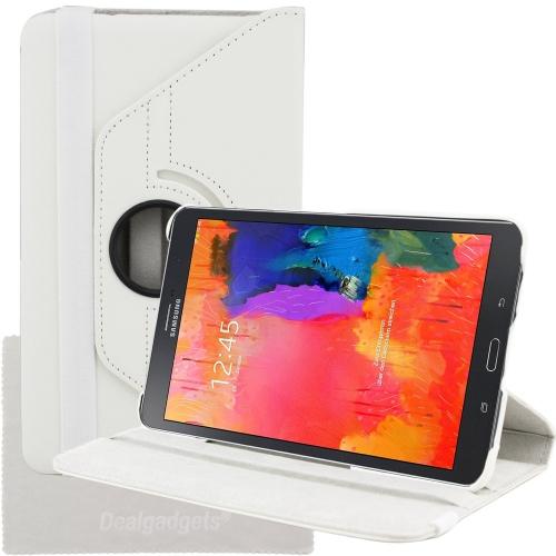 Étui portefeuille en cuir pivotant à 360 degrés pour Samsung Galaxy Tab Pro 8.4 - Blanc