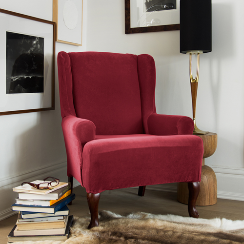 1 Piece Stretch Velvet Wing Chair, Velvet Wing Chair Slipcover