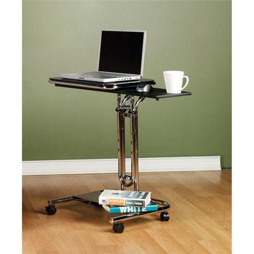 Studio Designs 51200 Laptop Cart w - Mouse Chrome - Blk