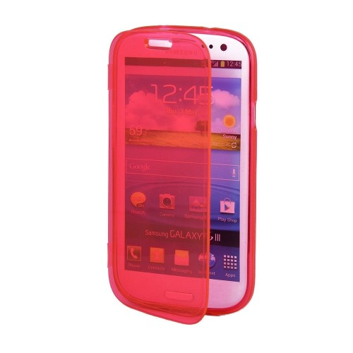 Clear Flip TPU Skin Gel Silicone Case Cover for Samsung Galaxy S3 S III i9300 - Red
