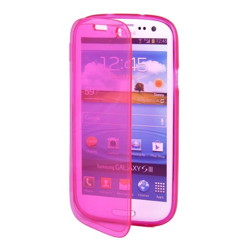 Clear Flip TPU Skin Gel Silicone Case Cover for Samsung Galaxy S3 S III i9300 - Pink