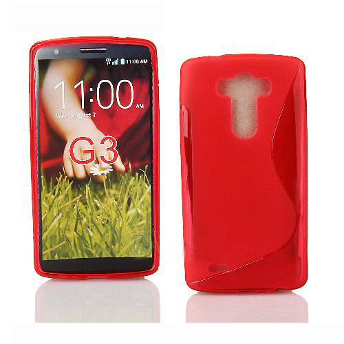 S-Line S Shape TPU Rubber Gel Case Cover Skin for LG G3 - Red