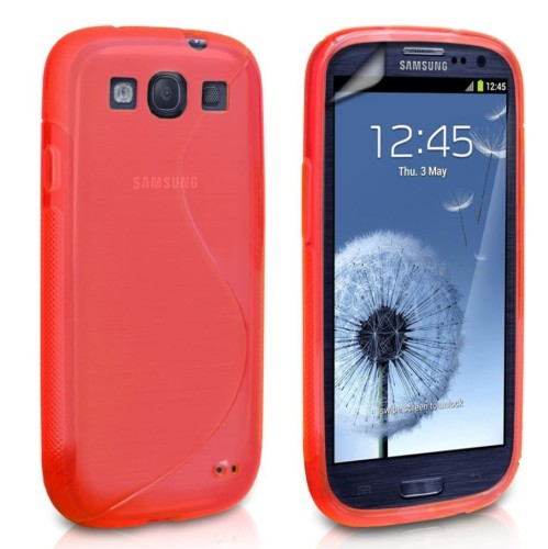 S-Line Soft TPU Gel Silicone Skin Cover Case For Samsung Galaxy S3 SIII i9300 - Red